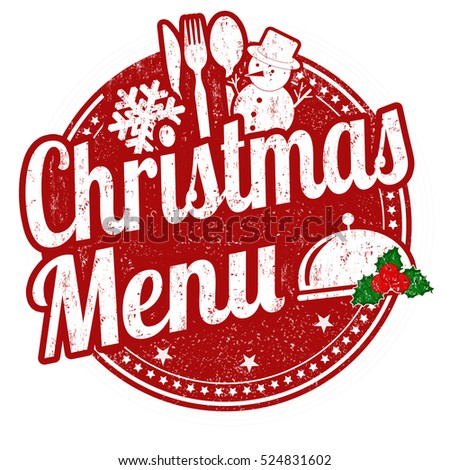 Christmas menu grunge rubber stamp on white background, vector illustration
