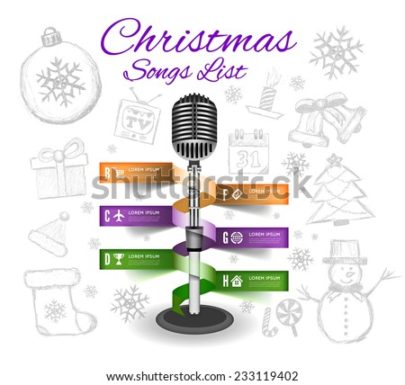 Christmas Microphone infographics. Vector illustration with drawing background - stock vector