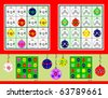 Christmas Mini-Sudoku. Symmetrical, very easy. Vector set. - stock vector