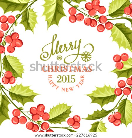 christmas mistletoe drawing over card with holiday text and border vector illustration