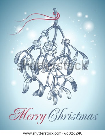 christmas mistletoe hand drawn - stock vector