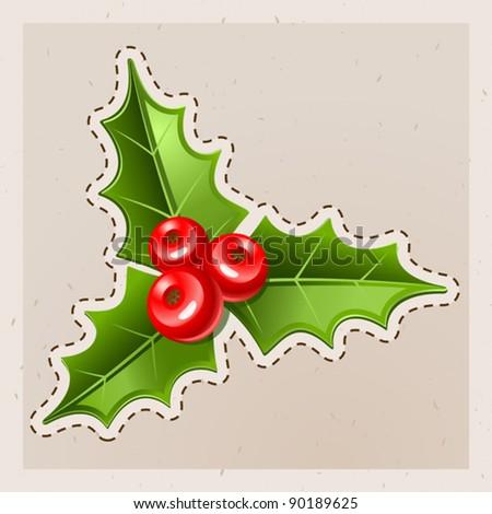 Christmas Mistletoe. Old paper - stock vector