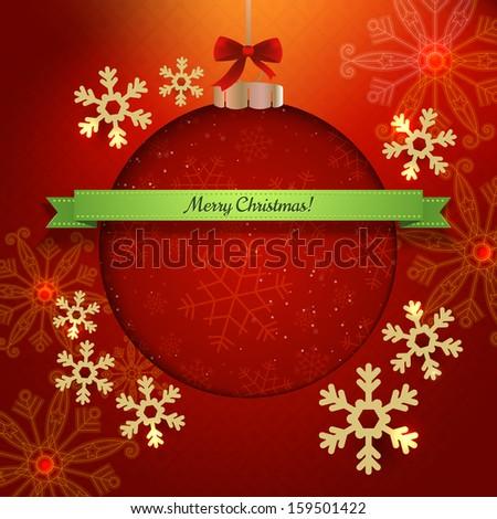 Christmas modern poster design. Paper cut ball ornament. Vector illustration - stock vector