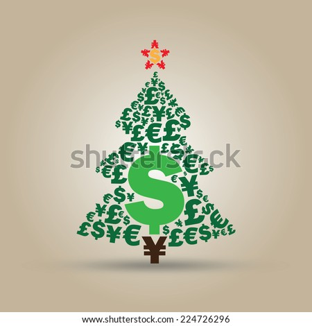 Christmas Money Tree Made From Most Popular Currencies