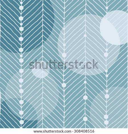Christmas motif with white lines that look like a fir tree. Globe circles and small snowballs on a blue icy background. For prints: scrap booking, handicrafts and web use. EPS 10 - stock vector
