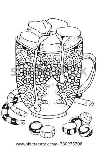 Christmas mug hot chocolate marshmallow christmas stock for Hot chocolate mug coloring page