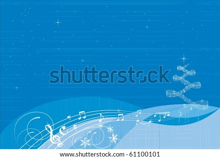 christmas music background - stock vector