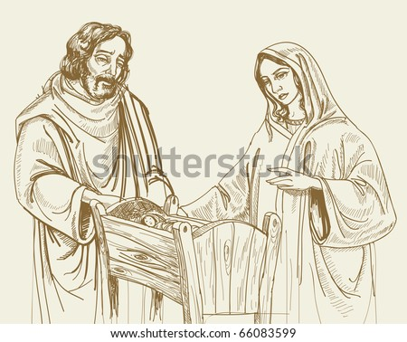 Christmas nativity scene (not auto-traced) - stock vector