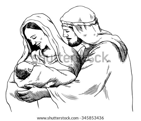 Christmas nativity scene of Joseph and Mary holding baby Jesus, hand drawn sketch - stock vector