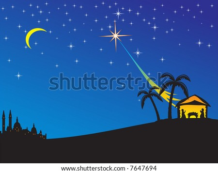 Christmas nativity scene. Vector illustration - stock vector