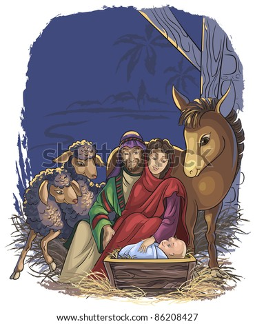 Christmas nativity scene with Holy Family. Bible story of the birth of Jesus. Vector art illustration for a children book or greeting card - stock vector