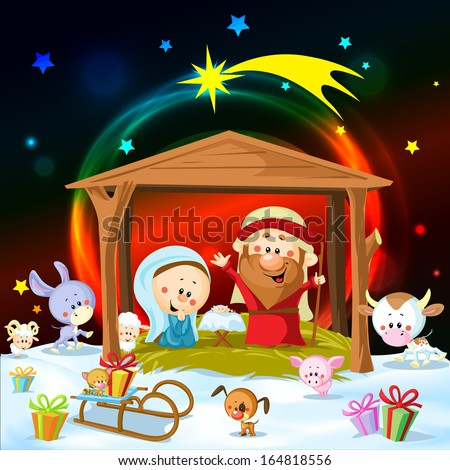 christmas nativity with lights and cute animals - stock vector
