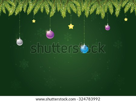 Christmas needles with decoration on green background with snow and snowflakes. Merry Christmas and happy new year! - stock vector