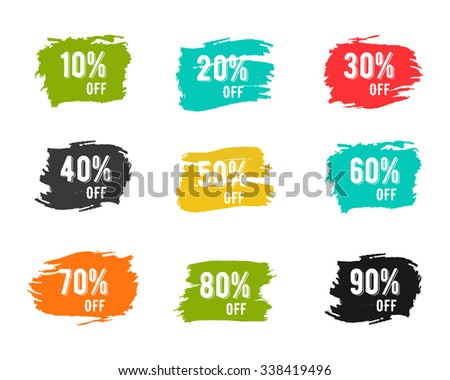 Christmas, new year, black friday, cyber monday or winter autumn sale percents. Vector paint watercolor brush, splash. You can set any discount from the collection of digits. Easy to change color. - stock vector