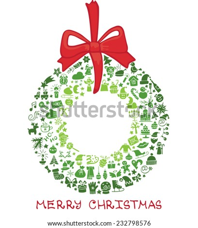 Christmas,New year colored greeting card.Many different decorative elements for winter holidays  in wreath shape.Flat style.Circle composition.Doodles sketch in  style of  child's hand drawing. Vector - stock vector