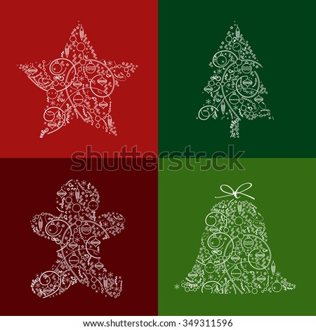 Christmas & New Year decoration design with Star, Fir, Gingerbread Man & Bell in trendy line style. Winter Holidays vector icon set for greeting cards, wallpaper, gift package decorations. Editable    - stock vector