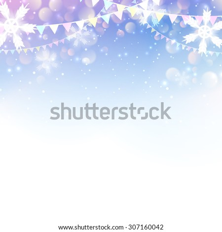 Christmas & New Year design: light background with snowflakes and flag garlands. Vector illustration, eps10. - stock vector