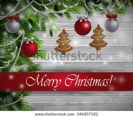 Christmas  New Year design light wooden background with christmas tree gingerbread decorations and red silver balls - stock vector