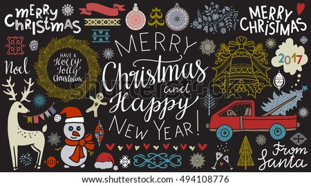 Christmas, New Year hand drawn icons set isolated on chalk board background