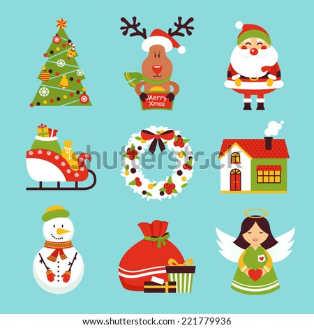 Christmas new year holiday decoration  icons set isolated vector illustration - stock vector