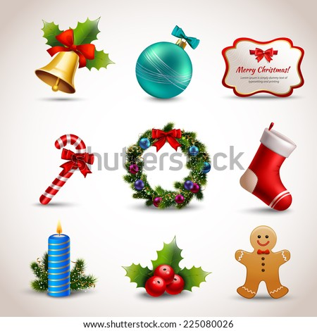 Christmas new year holiday decoration realistic icons set isolated vector illustration - stock vector