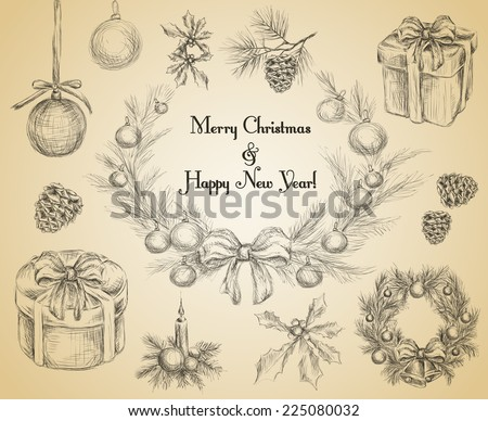 Christmas new year holiday decoration sketch decorative icons set isolated vector illustration.