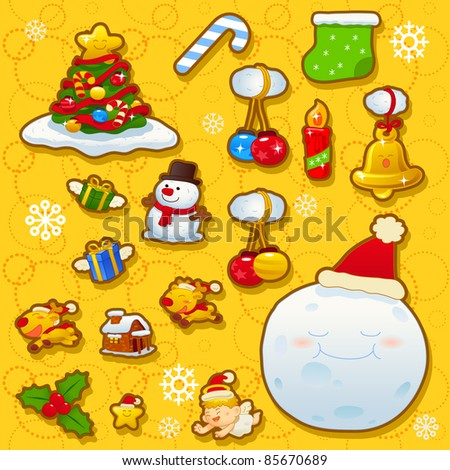 Christmas,new year,holiday icon set - stock vector