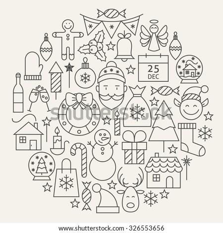 Christmas New Year Holiday Line Icons Set Circular Shaped. Vector Illustration of Decoration and Festival Cold Celebration Objects. Winter Holiday Items. - stock vector