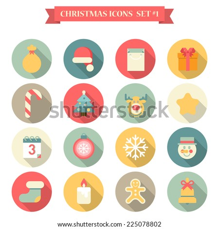 Christmas New Year icon set flat style seasonal objects gingerbread man gift bag Santa hat fir tree candy elk candle snowman. Collection of holiday icons web element infographics print template. - stock vector