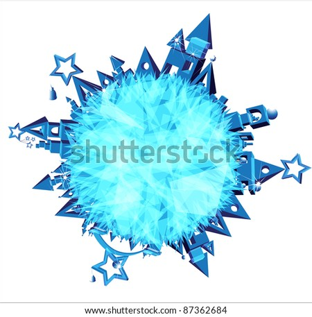 Christmas New Year (New Year festive Christmas landscape Planet) - stock vector