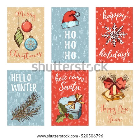 Christmas, New Year, Noel greeting card, posters, flyers, brochures, invitation set. Colorful Hand Drawn sketch vintage elements.