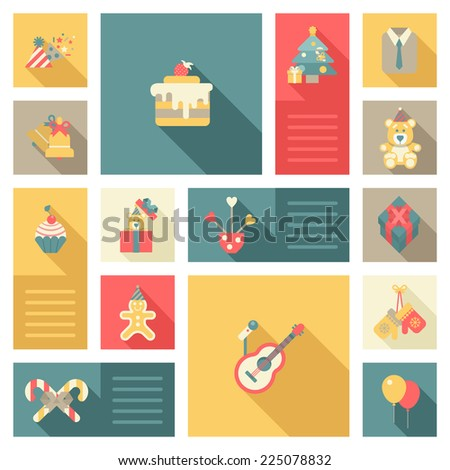 Christmas New Year objects icon set flat style. Cap bell cake tree bear decorations microphone guitar gloves gingerbread man cookie. Collection of holiday icons web element infographics template. - stock vector