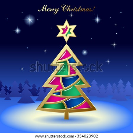 Christmas & New-Year's greeting card with a gold tree with stained glass on dark blue starry background. Vector illustration - stock vector