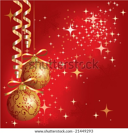 christmas - new year shine card with golden balls - stock vector