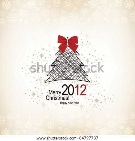 Christmas & New Year. Vector greeting card - stock vector