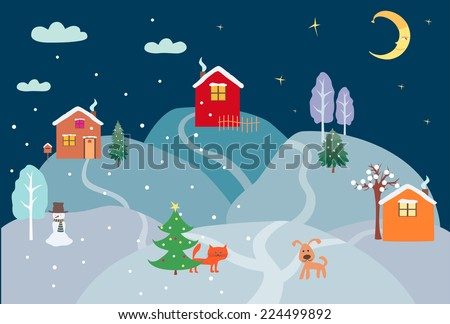 christmas night - stock vector