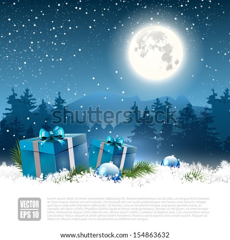 Christmas night - background with gift boxes and baubles in the snow - vector background - stock vector