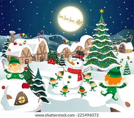 Christmas night celebration on the north pole vector cartoon illustration - stock vector