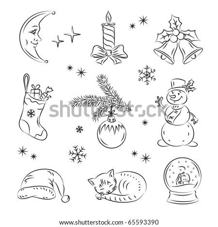Christmas Night Set - stock vector