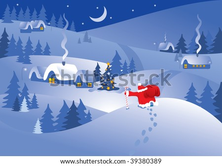 Christmas night village in the ornate frame. Santa Claus comes to visit. Vector. - stock vector