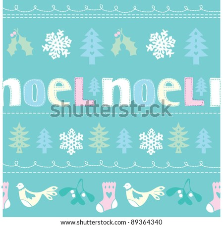 Christmas Noel seamless vector - stock vector