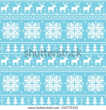 Christmas nordic seamless pattern - deer, snowflakes and trees - stock vector