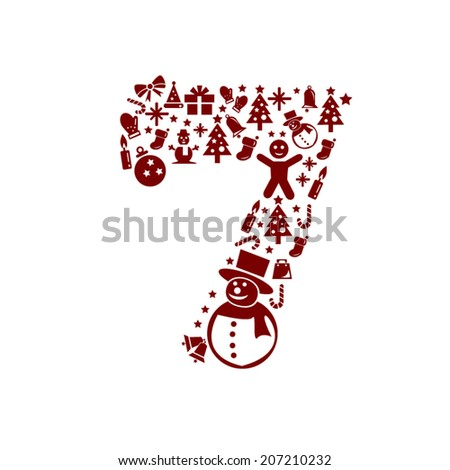 Christmas Number 7 on White Background - stock vector