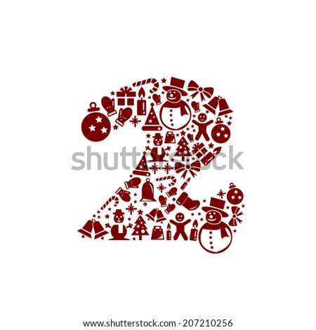 Christmas Number 2 on White Background - stock vector
