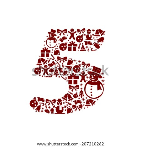 Christmas Number 5 on White Background - stock vector