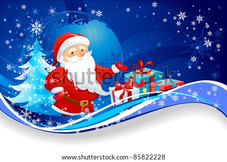 Christmas on the planet Earth - stock vector