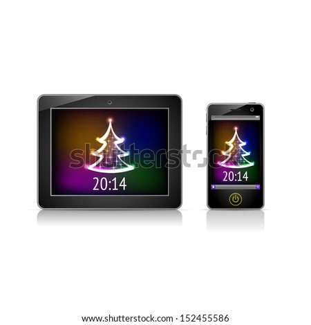 Christmas 2014 on the screen. Phone and tablet vector realistic illustration. - stock vector