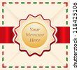 Christmas or greeting card with ribbon and text space in vector. - stock vector