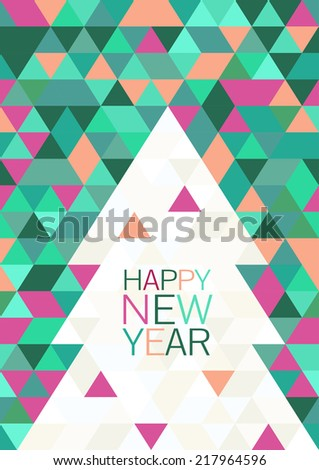 Christmas or New Year abstract geometric background. Greeting card template. Vector illustration.