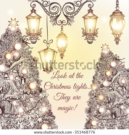 Christmas or New Year greeting card with hand drawn decorated Xmas trees and beautiful magic lights - stock vector